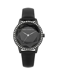 french-connection-black-leather-strap-ladies-watch