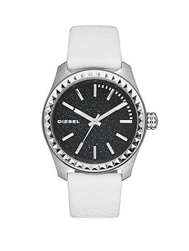 Diesel Kray Kray 38 Blue Dial and Stainless Steel White Leather Strap Ladies Watch