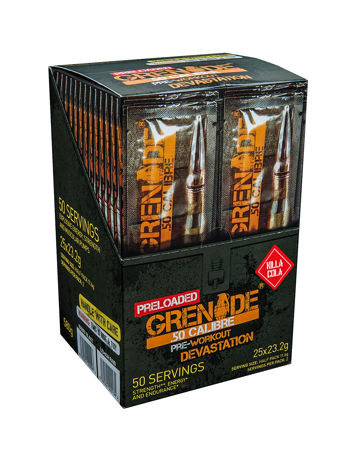 GRENADE 50. Calibre Pre Workout Energy Boost Powder 25 x 2 Serving Satchets - Killa Cola