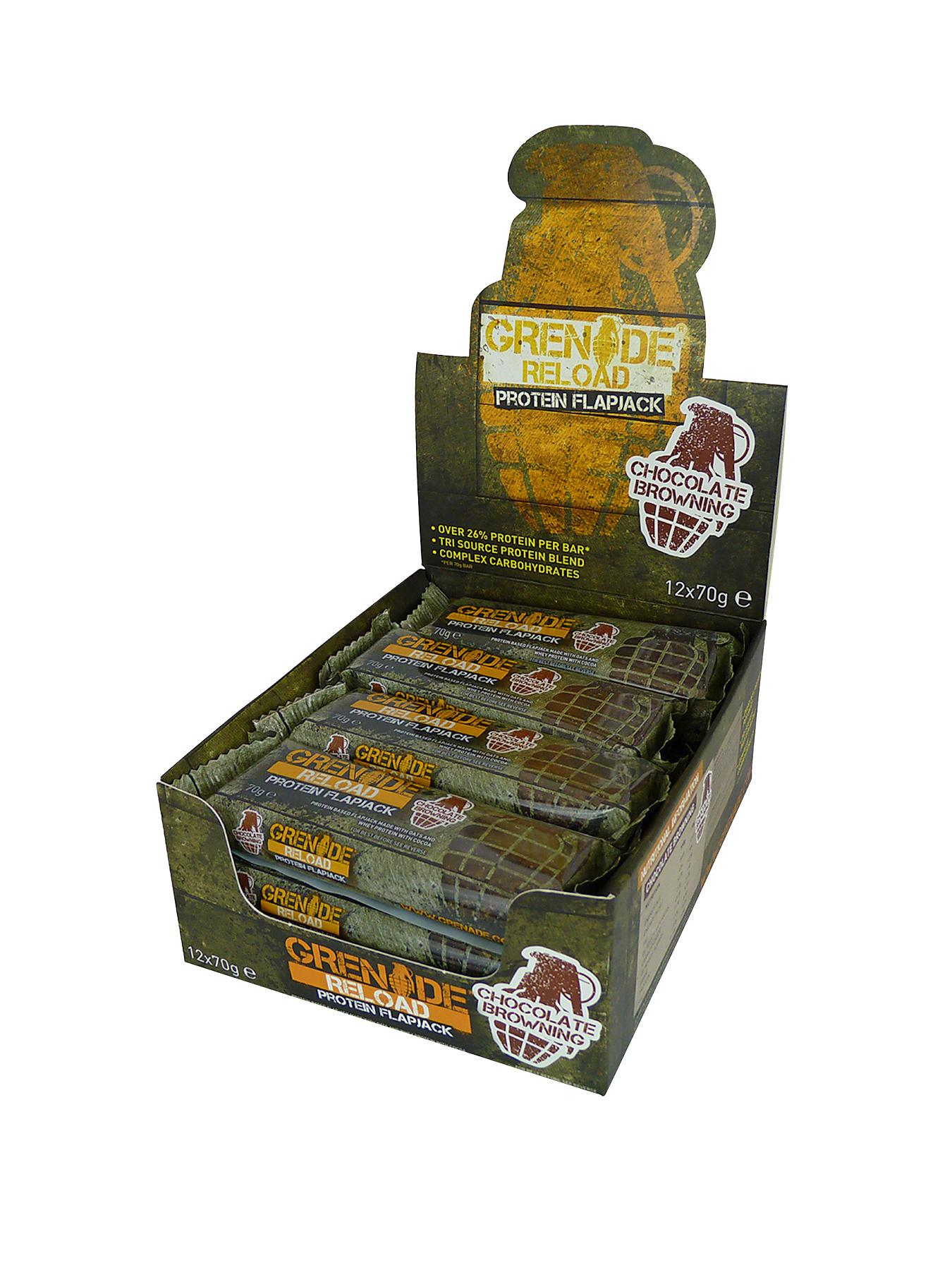 GRENADE Reload Chocolate Brownie Protein Flapjack 12 x 70g Bars