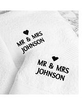 Personalised Couples Bath and Hand Towel Set