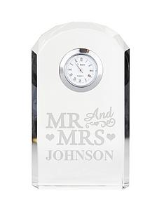 personalised-mr-mrs-crystal-clock