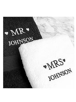 personalised-mr-mrs-towel-set