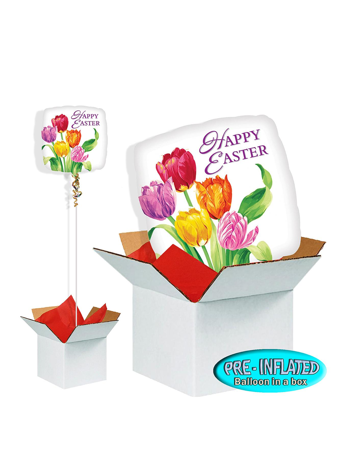 Easter Tulips 18 inch Square Foil Balloon