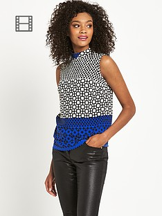 definitions-high-neck-geo-print-top