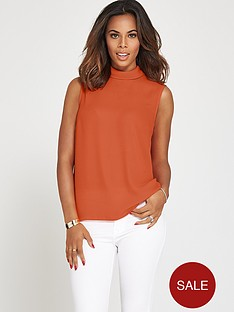rochelle-humes-high-neck-sleeveless-blouse