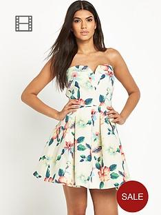ax-paris-floral-skater-bandeau-dress