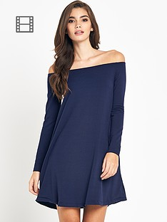 glamorous-off-the-shoulder-swing-dress