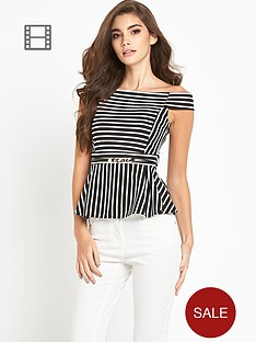 lipsy-off-the-shoulder-bardot-stripe-top