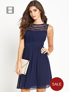 little-mistress-embellished-mesh-top-skater-dress