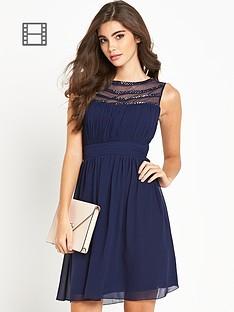 little-mistress-embellished-mesh-top-skater-dress