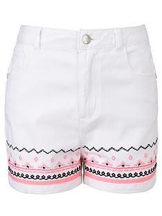 freespirit-girls-high-waisted-embroidered-shorts