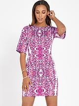 Floral Shift Dress with Wide Sleeves