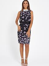 Butterfly Printed Pencil Dress with White Collar
