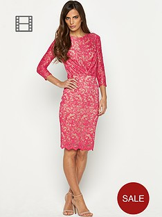 savoir-rouched-lace-dress