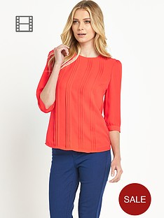 oasis-pin-tuck-three-quarter-sleeved-top