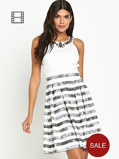 little-mistress-embellished-neck-stripe-skirt-skater-dress