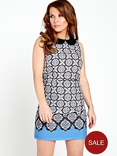 coleen-blue-tile-print-shift-dress