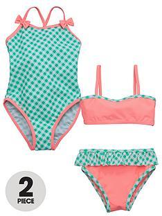 ladybird-girls-gingham-swimsuit-and-bikini-set