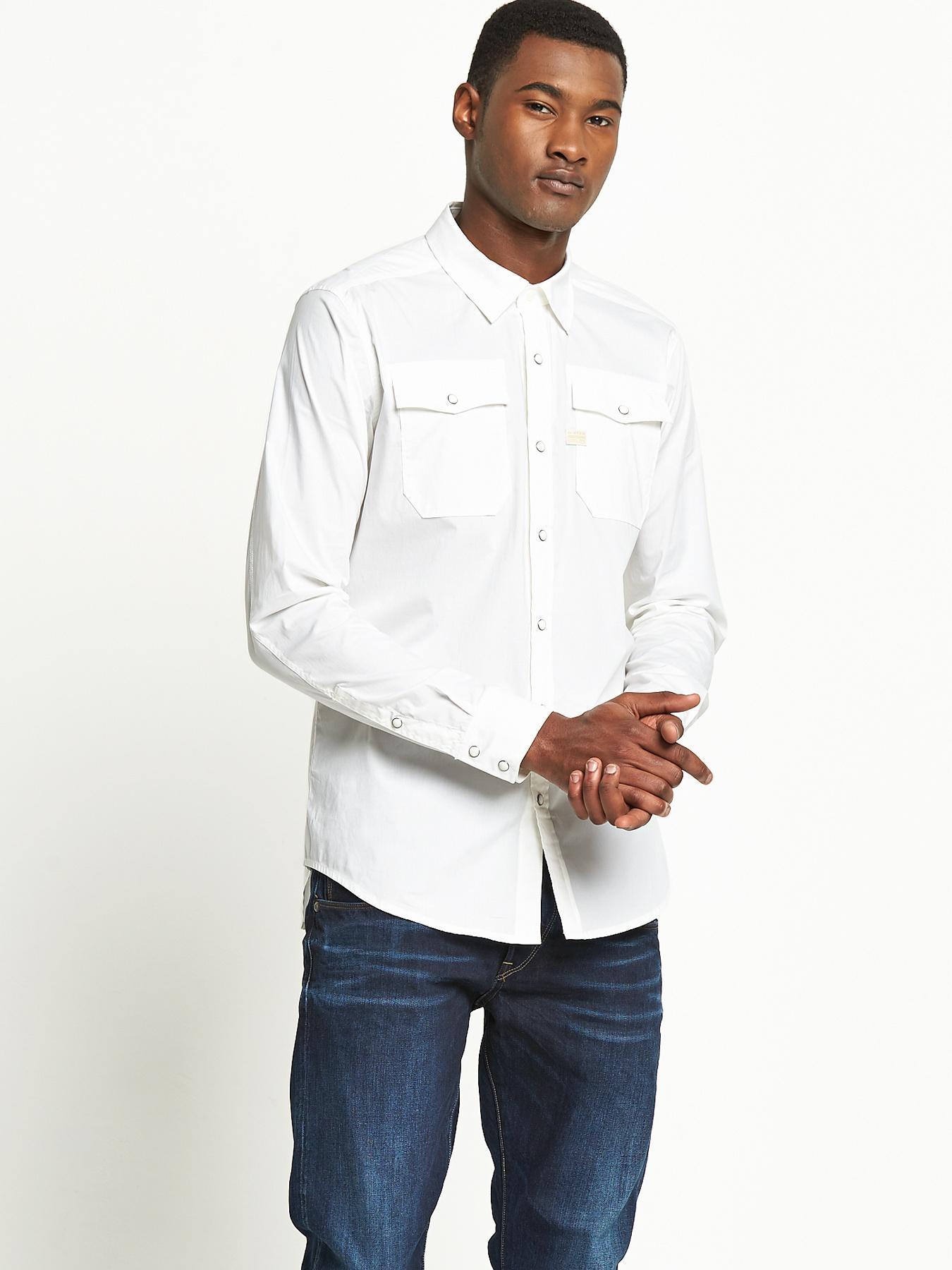 G-Star RAW Mens Landoh Long Sleeved Shirt - White, White