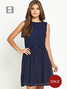 club-l-lace-overlay-skater-dress