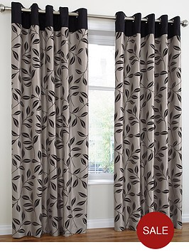 bay-leaf-flocked-lined-eyelet-curtains