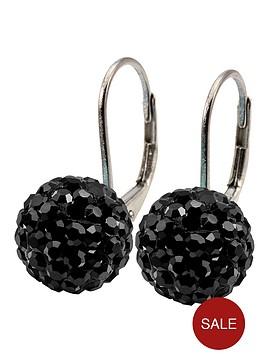 tresor-paris-8-mm-round-black-crystal-earrings