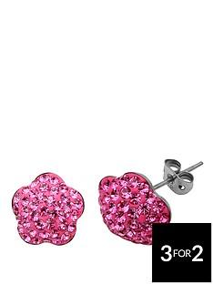 tresor-paris-8-mm-flower-pink-crystal-earrings