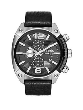 Diesel Overflow Black Dial And Stainless Steel Black Leather Strap Mens Watch