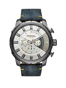 Diesel Stronghold Silver Dial And Gunmetal Tone Blue Denim Strap Mens Watch