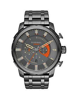 Diesel Stronghold Black Dial Gunmetal Tone Bracelet Mens Watch