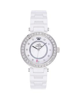 Juicy Couture Luxe Couture Crystal Bezel White Ceramic Ladies Watch