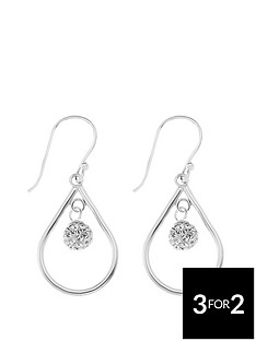 the-love-silver-collection-sterling-silver-crystal-ball-drop-hoop-earrings