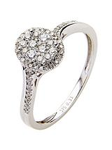 9 Carat White Gold 33 Point Diamond Oval Cluster Ring with Diamond Set Shoulders