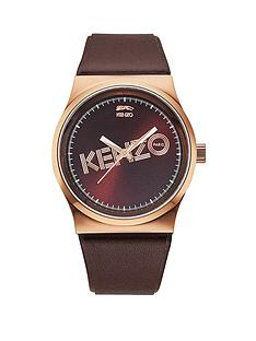 kenzo-logo-dial-rose-gold-tone-brown-leather-strap-unisex-watch