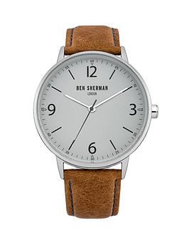 Ben Sherman Ben Sherman Grey Dial and Tan Leather Strap Mens Watch