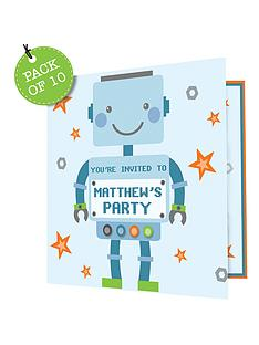 personalised-robots-birthday-invitations-pack-of-10