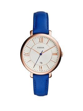 Fossil Jacqueline Rose Gold Tone Mini Case Blue Leather Strap Ladies Watch
