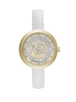Armani Exchange Mop Dial And White Leather Strap Ladies Watch