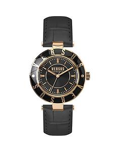 versus-versace-by-versace-logo-black-face-gold-highlights-black-leather-strap-ladies-watch--free-gift