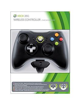 xbox-360-black-wireless-controller-with-play-and-charge-kit