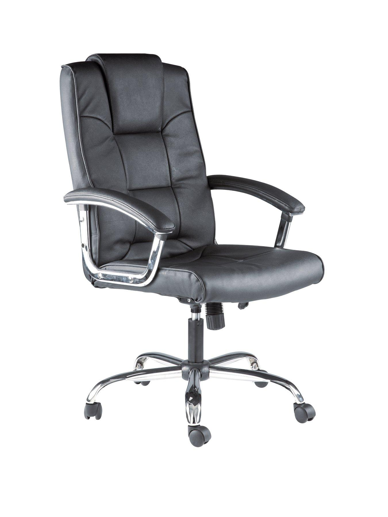 Houston Leather Office Chair - Black, Black,Cream