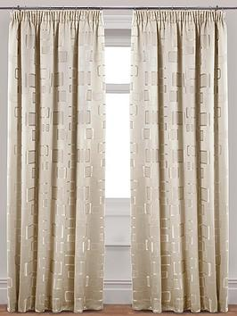 Contemporary Milano Jacquard Pleated Lined Curtains with Tie-backs