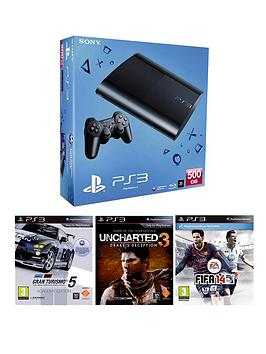 playstation-3-500gb-console-with-gran-turismo-5-uncharted-3-goty-and-fifa-14