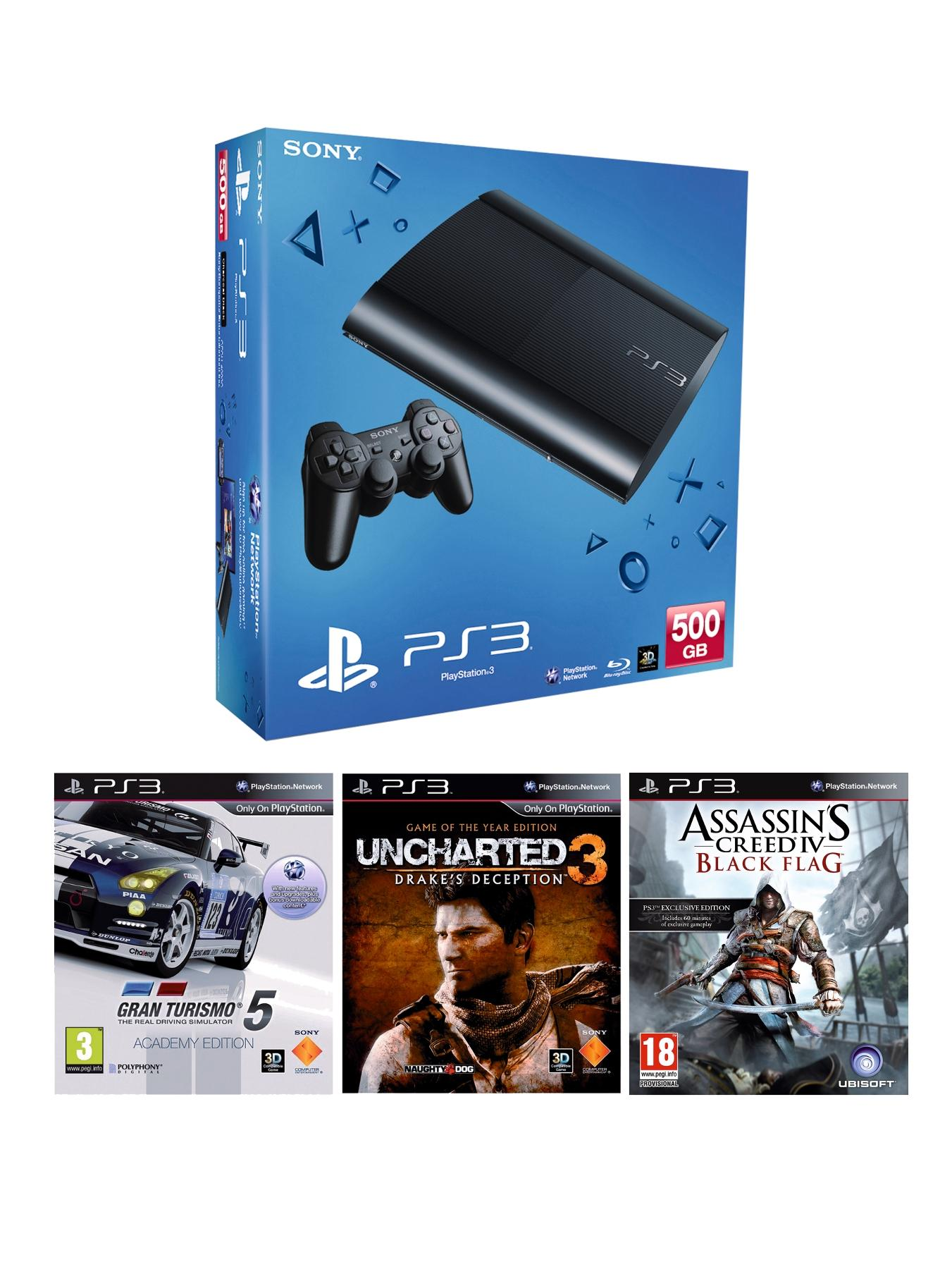 Playstation 3 500Gb Console with Gran Turismo 5, Uncharted 3 and Assassins Creed IV: Black Flag