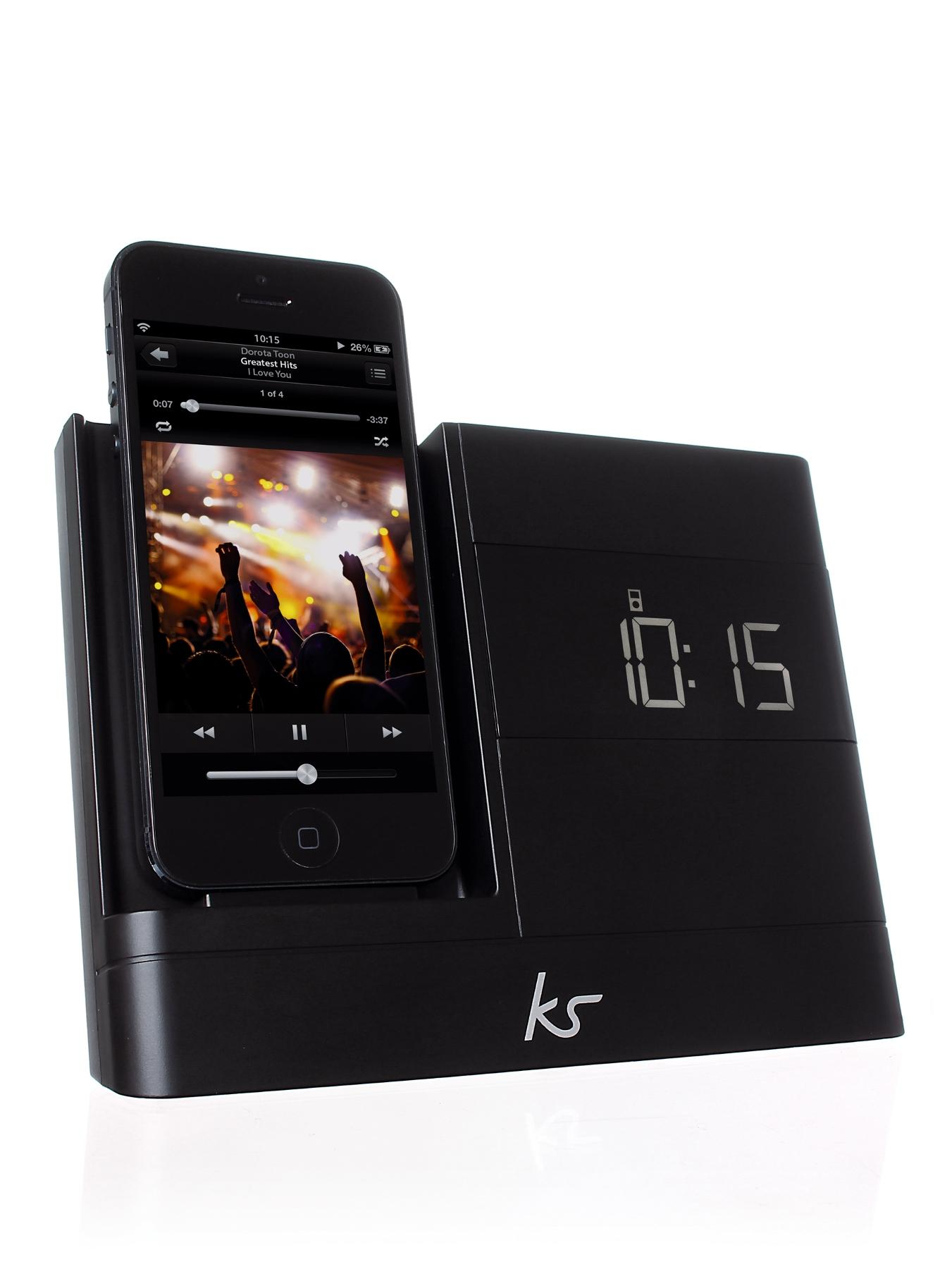 Kitsound X-Dock 2 8 pin Lightning Connector Clock Radio Dock for iPhone 5 - Black
