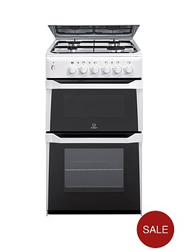 indesit-itl50gw-50cm-twin-cavity-gas-cooker-white