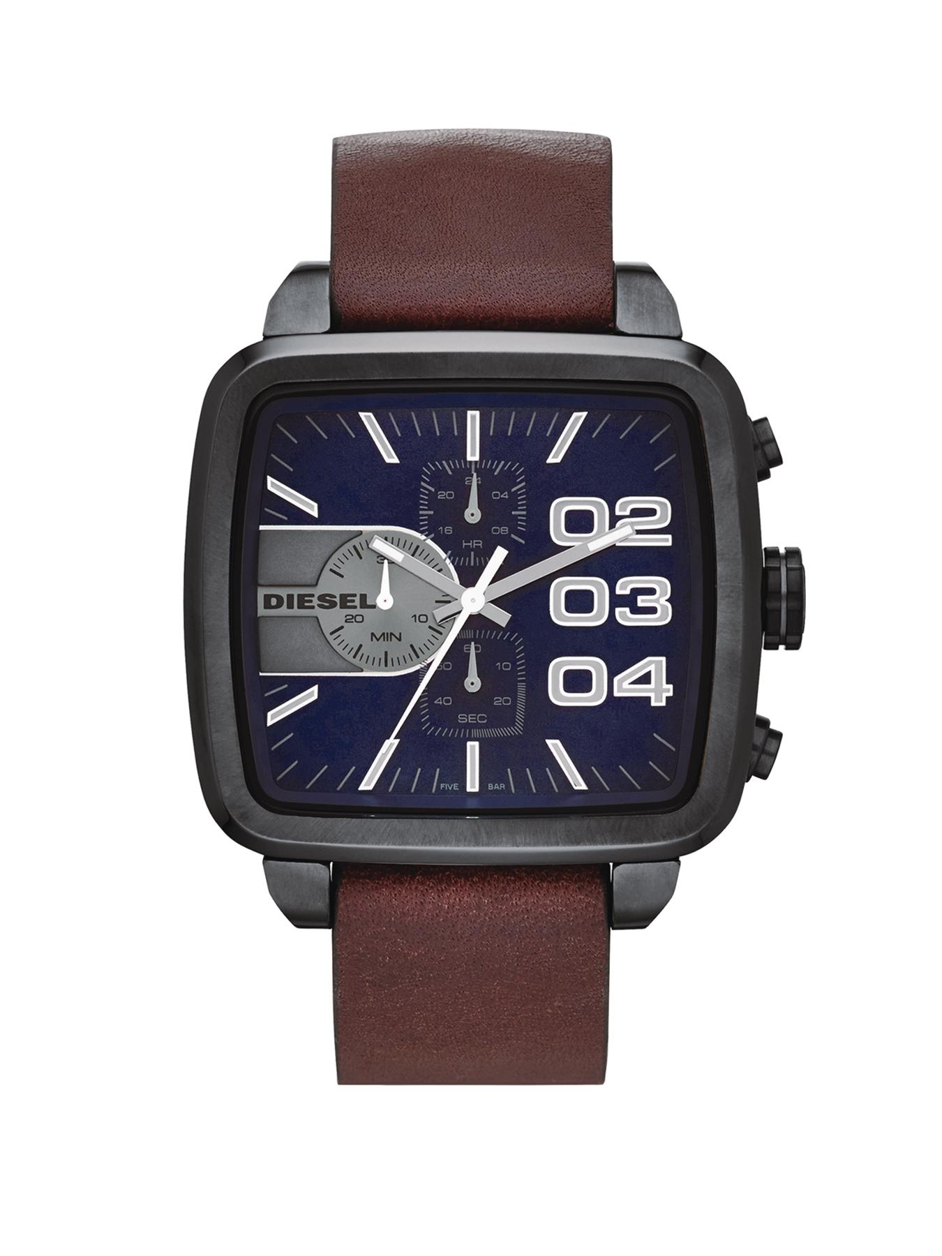 Diesel Mens Square Franchise Brown Strap Watch