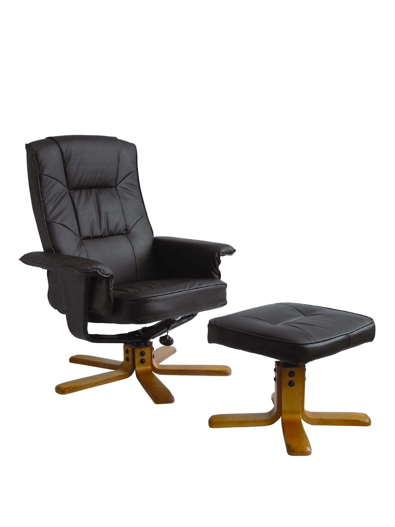 Drake Reclining Office Chair with Matching Footstool - Brown, Brown,Cream,Black