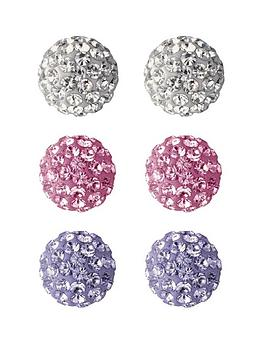the-love-silver-collection-sterling-silver-crystal-ball-earrings-3-pack